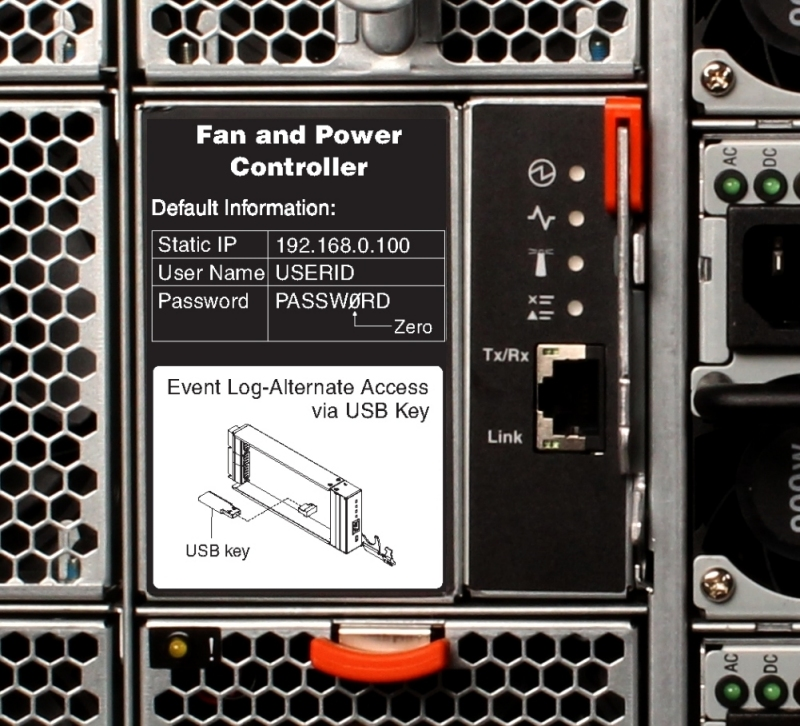 Closeup of the Fan and Power Controller in the NeXtScale n1200 Enclosure