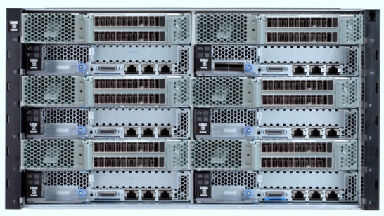 The NeXtScale n1200 chassis can house up to 6 Compute Nodes, each with a two-slot PCIe Native Expansion Tray attached, allowing up to 12 GPU cards in just 6U of rack space.