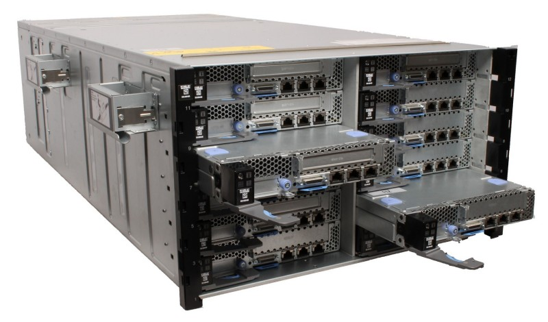 The NeXtScale n1200 chassis houses up to 12 compute nodes and provides shared power and cooling