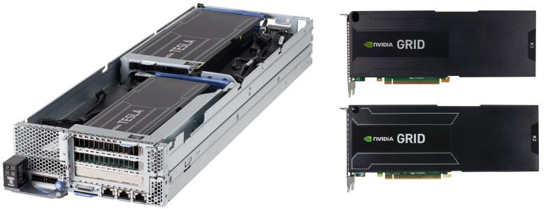 Pictured on left: Two Tesla GPUs, on a single node, installed in an IBM NeXtScale nx360 M4 Server. Pictured on right: NVIDIA GRID GPU options available.