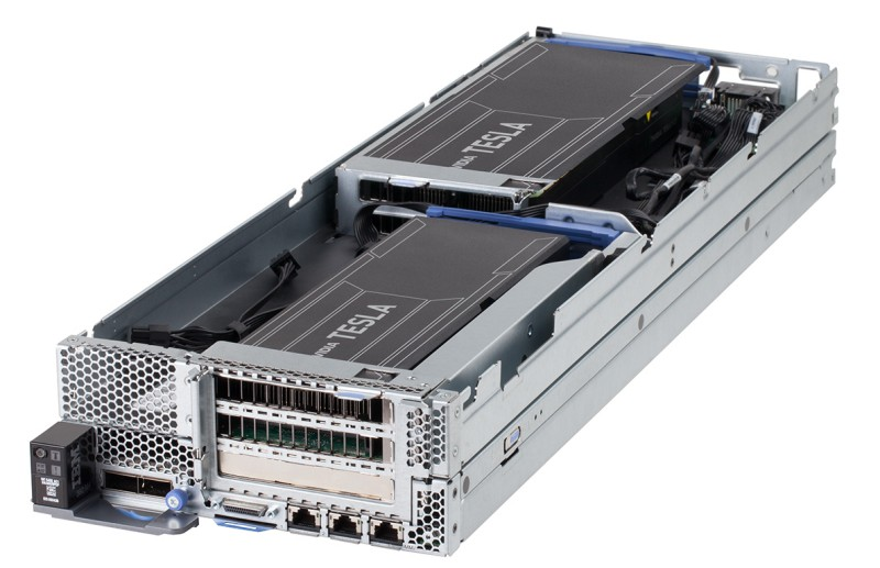 IBM NeXtScale PCIe Native Expansion Tray (top) attached to an nx360 M4 compute node (bottom)