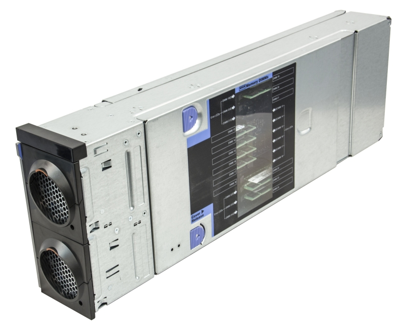 One of up to four Compute Books in the System x3850 X6 (memory DIMMs are visible through the clear side window)