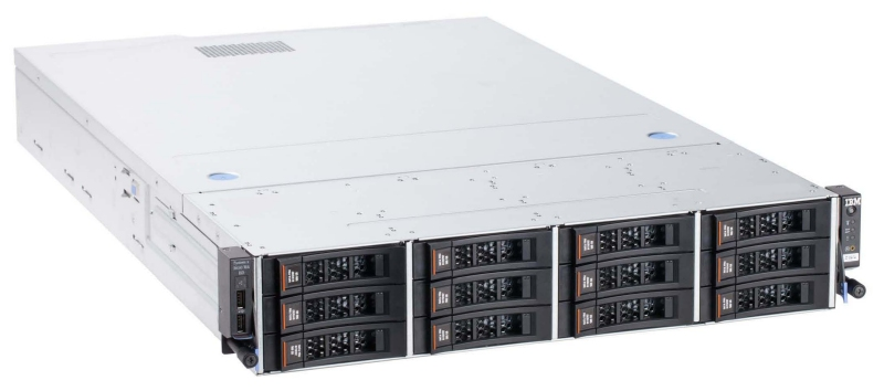 IBM System x3650 M4 BD with 12 3.5-inch drive bays at the front and 2 at the rear