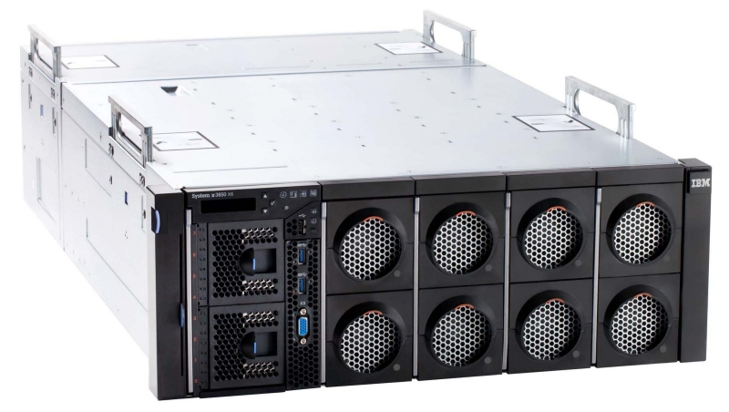 The new IBM System x3850 X6 four-socket server, shown with integrated lift handles that make it easy to install