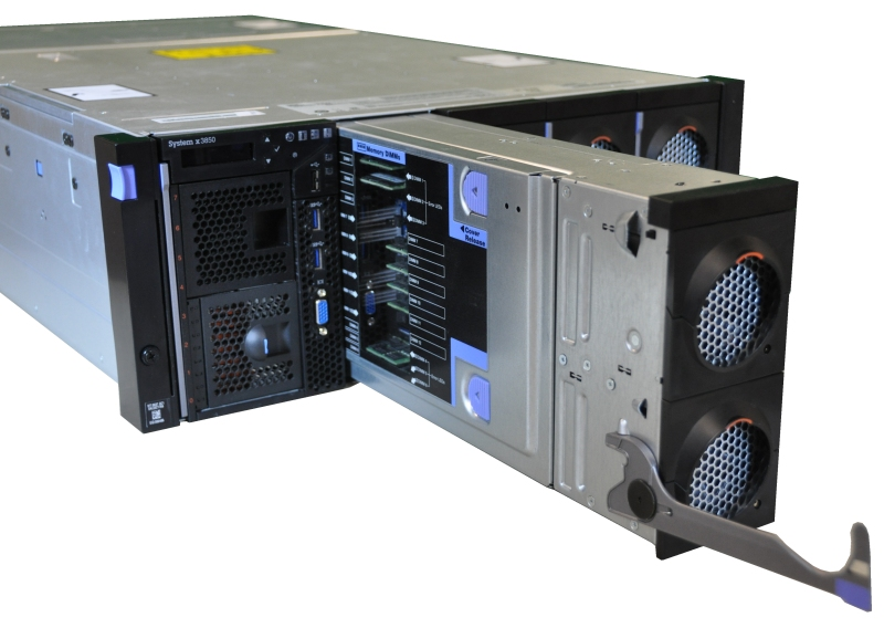 Component books, such as the Compute Book shown here, are easily removed from the front or rear of the server (just like the x3850 X6, shown here)